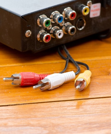 home audio: AV cable wire on wooden table