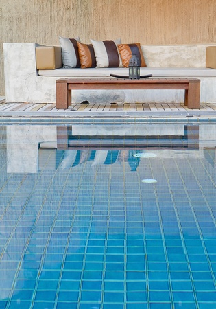 sofa and pool modern style
