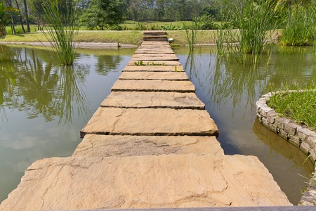 stepping: stone path across river