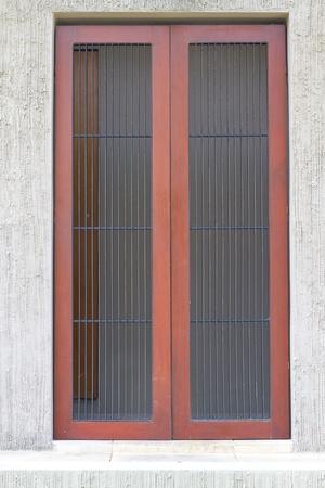 prison cell: wooden door Stock Photo