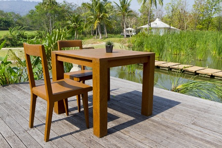 wooden chairs and tables on terrace Stock Photo - 12903751