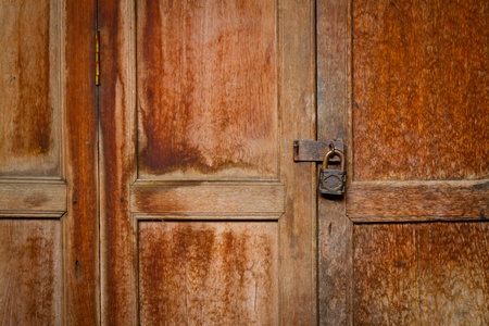 vintage door with padlock  photo