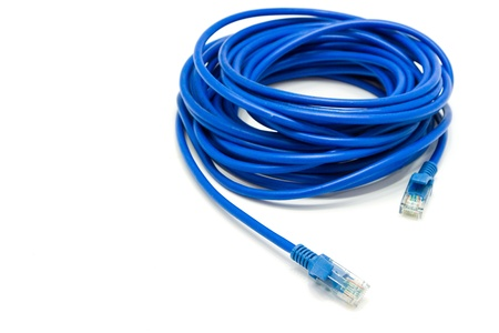blue internet wire on white background Stock Photo