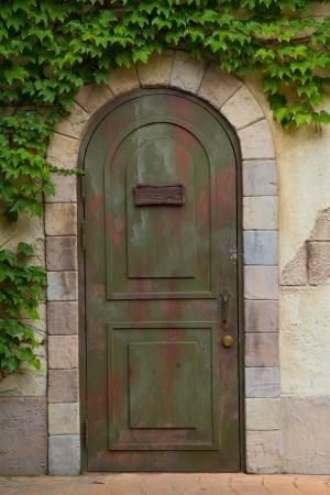 residential idyll: vintage door Stock Photo
