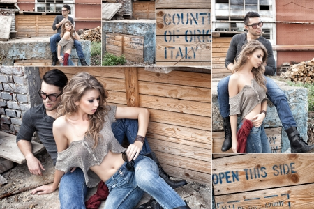 sexy couple wearing jeans and boots posing dramatic - collage photo