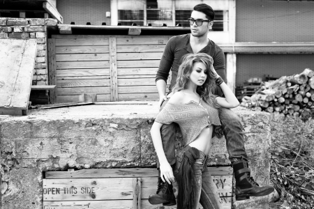 romantic sexy couple: Sexy and stylish young couple wearing jeans  Photo has an intentional film grain