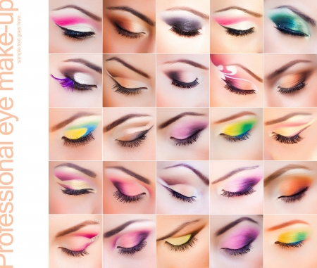 set of colorful make-up on closed eyes - vibrant colors very clean photo