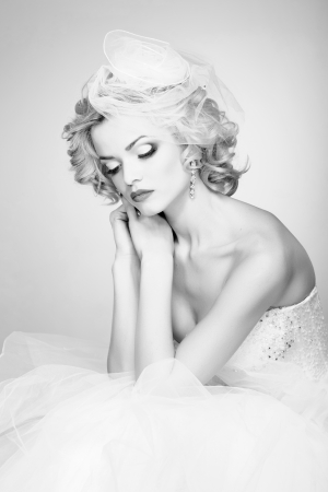 beautiful bride portrait wearing professional make-up shoot in the studio photo