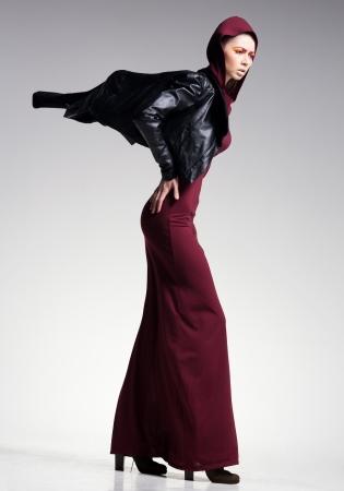 woman model posing very dramatic in an minimal studio setup Stock Photo - 18917124