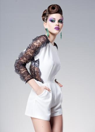 beautiful woman dressed elegant posing glamorous - studio fashion shot
