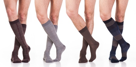 collection of man socks on foot Фото со стока