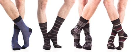 sock: collection of man socks on foot Stock Photo