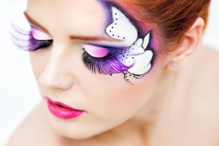pretty woman with beautiful fantasy make-up - beauty shot  photo