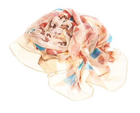 silk wool: thin summer scarf isolated on white background