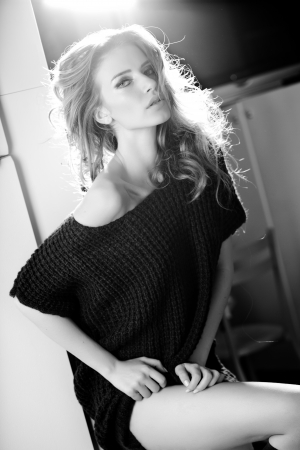 beautiful blonde woman posing glamorous indoor Stock Photo - 21307551