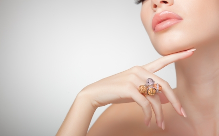 beautiful woman wearing jewelry, very clean image with copy space Stock Photo