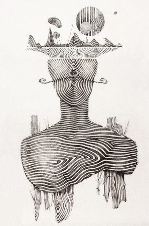dessin: Dessin � la main surr�aliste, portrait d�coratif oeuvre - Stanislav Cebanenco