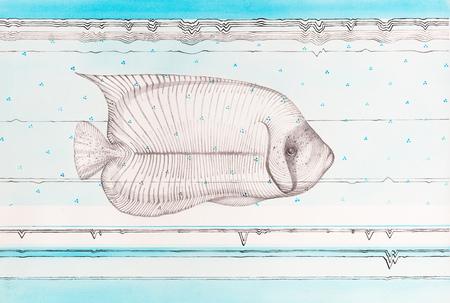 Surreal hand drawing, fish portrait decorative artwork