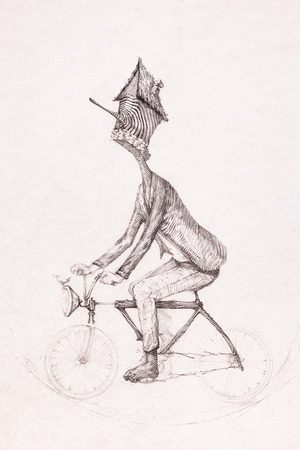 bike riding: Surreal hand drawing, man riding a bike sketch decorative artwork Stock Photo
