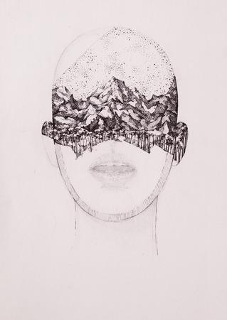 Surreal hand drawing, portrait decorative artwork Zdjęcie Seryjne