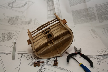 Model ship building. USS Constitution cross section photo