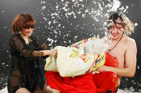 Pillow fight: down from the pillow