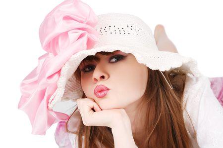 l hand: model in hat