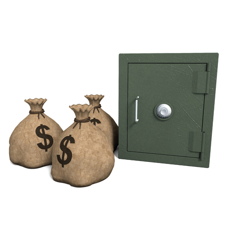 Rendering of a strongbox with sacks of money on white background. Archivio Fotografico