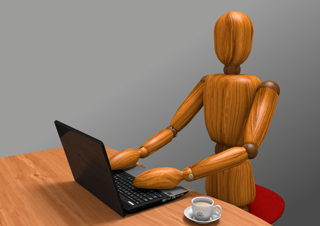 3D rendering of a wooden dummy working at a laptop. On the desk there is anche a cup of coffee. The background is a gray gradient.