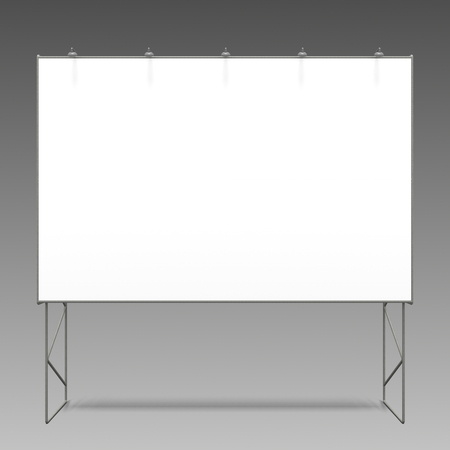 Rendering of an empty billboard on gray background.