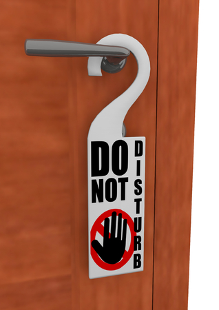 hanged: Rendering of the detail of a do not disturb sign hanged on the handle of a door. Stock Photo