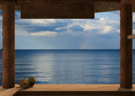 Rendering of the view from a kiosk on the beach. From the kiosk is visible the ocean. On the plane of the kiosk, on the left there are three coconuts. Archivio Fotografico