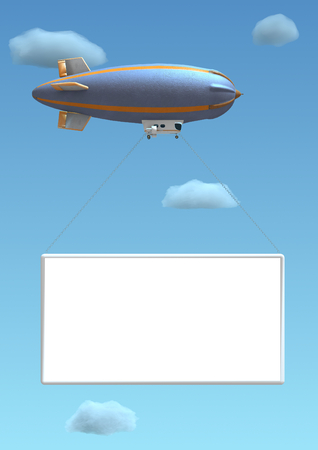 Rendering of an empty billboard hanged on a blimp. The billboard is hanged with chains to the blimp. Blue sky and clouds are in the background.