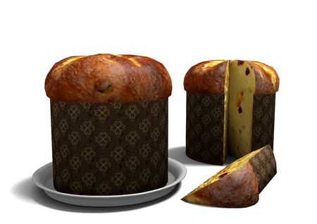 3D Panettone on white background