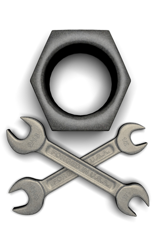 roger: Wrenches and Nut mimic Jolly Roger Stock Photo