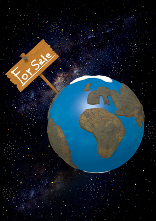 money cosmos: Rendering of the Earth with a sign That it says For Sale on starry background.