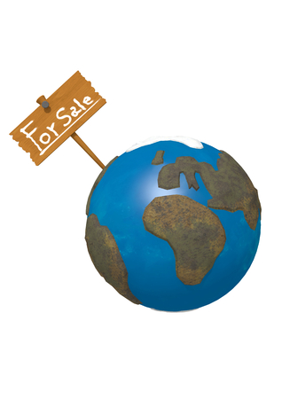 money cosmos: Rendering of the Earth with a sign That it says For Sale on white background.