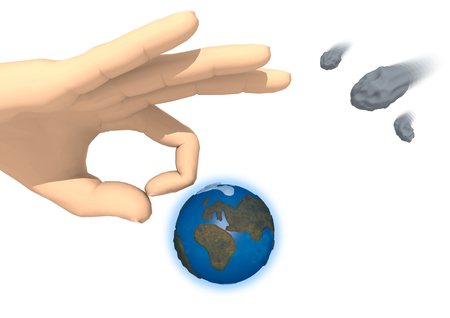 Rendering of a hand is going to strike the Earth on white background. On the right side there are three asteroids in transit. The action is the same used in the game of marbles. Does this hand want to save the Earth from the upcoming impact?