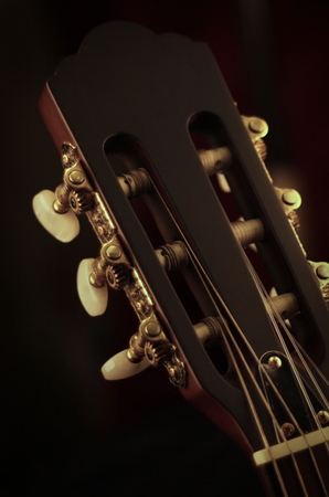 Close up guitar on black background Stock Photo