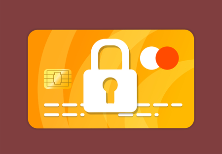 Credit Card with lock icon. 2d illustration