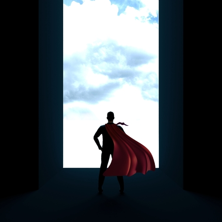 Back of business man superhero with hands on hips 3d render