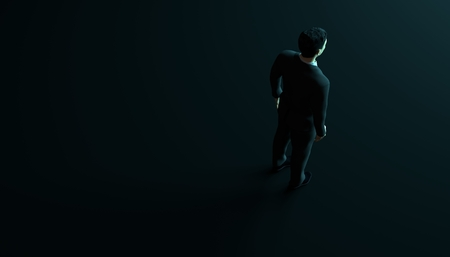 Businessman in suit on black background with copyspace. 3d render