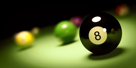 ball n. 8 on a pool table 3d render