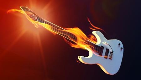 Fire guitar 3d render