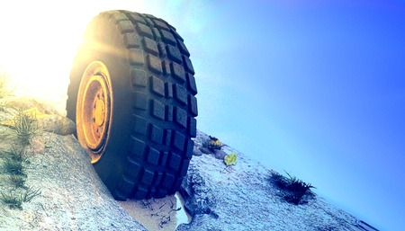 4x4 off-road vehicle tire on hill 3d render Banco de Imagens