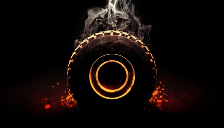 Off road tire with smoke 3d render