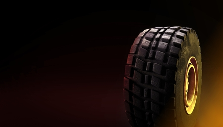 4x4 off-road vehicle tire on dark background 3d render