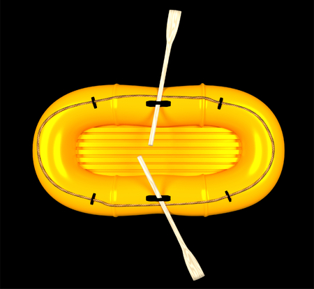 Top view of an orange rubber boat, isolated on white background 3d render Banco de Imagens