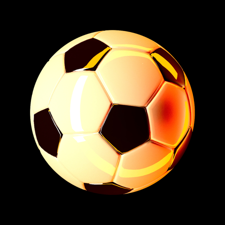 soccer ball on isolated on black 3d render