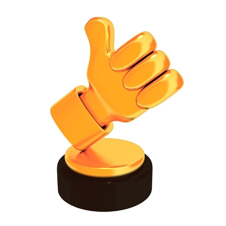 Thumb up trophy isolated on white background. 3d render